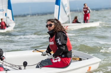 REDWOOD CITY, CA -April 12, 2016: The Stanford Cardinal sailing team practice on San Francisco Bay.
